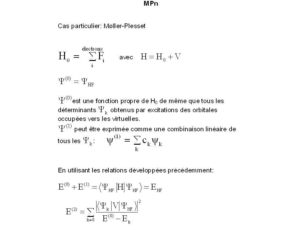 Les méthodes CI et MC-SCF sont des méthodes variationnelles: on est sûr dobtenir une limite supérieure de lénergie exacte.