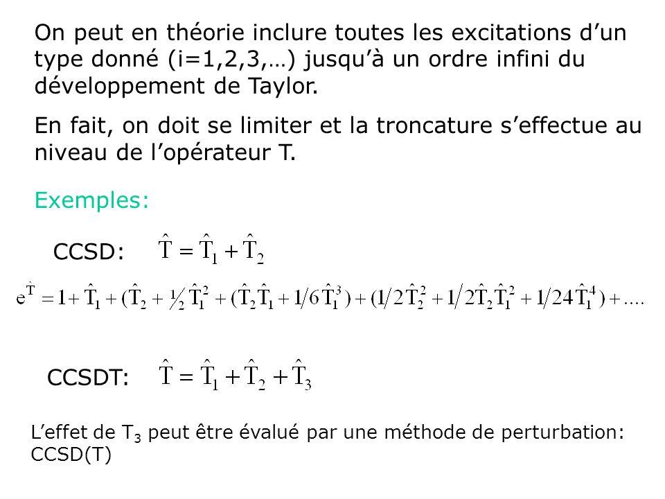 Approximation de Born-Oppenheimer Approximation orbitalaire: Approximation LCAO-MO Equation de Schrödinger électronique H el el = E el el = déterminant de Slater Méthode de résolution variationnelle Equations de Hartree-Fock Méthodes de type fonction donde E=F[ (r)] Addition de déterminants supplémentaires Vers la solution exacte Méthodes CI, MC-SCF, MPn,CC Approximations supplémentaires Méthodes semi-empiriques (EHT, MNDO, AM1, PM3)