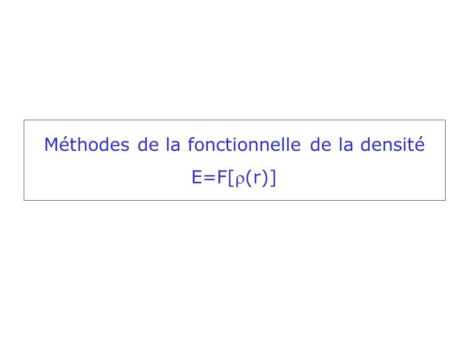Idée sous-jacente: partir dune observable physique pour déterminer lénergie Théorème dexistence de Hohenberg et Kohn (1964): lénergie dun système, dans son état fondamental est complètement déterminée par la densité électronique (r) Cette densité électronique obéit aussi au principe variationnel Mais……………deux problèmes (i)Comment choisir de façon rationnelle des densités toujours meilleures.