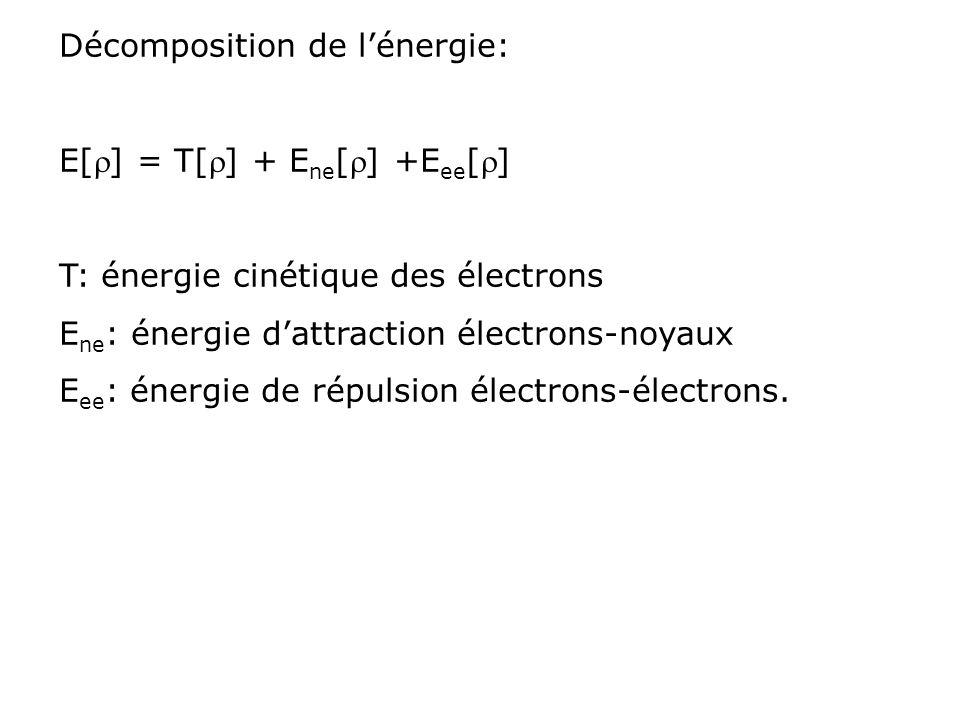 Décomposition de lénergie: E[] = T[] + E ne [] +E ee [] T: énergie cinétique des électrons E ne : énergie dattraction électrons-noyaux E ee : énergie