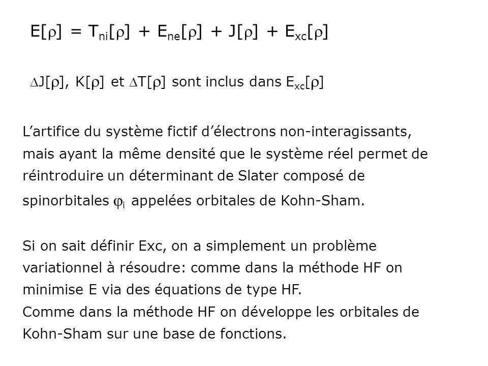E[] = T ni [] + E ne [] + J[] + E xc [] Lartifice du système fictif délectrons non-interagissants, mais ayant la même densité que le système réel perm