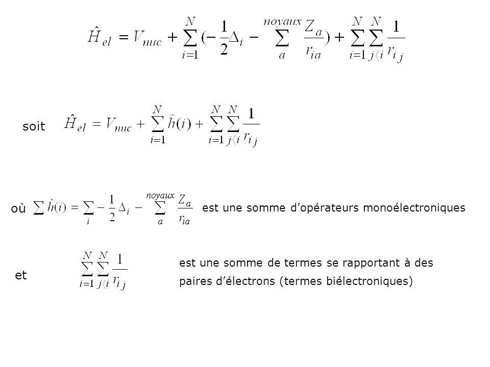 soit où est une somme dopérateurs monoélectroniques et est une somme de termes se rapportant à des paires délectrons (termes biélectroniques)