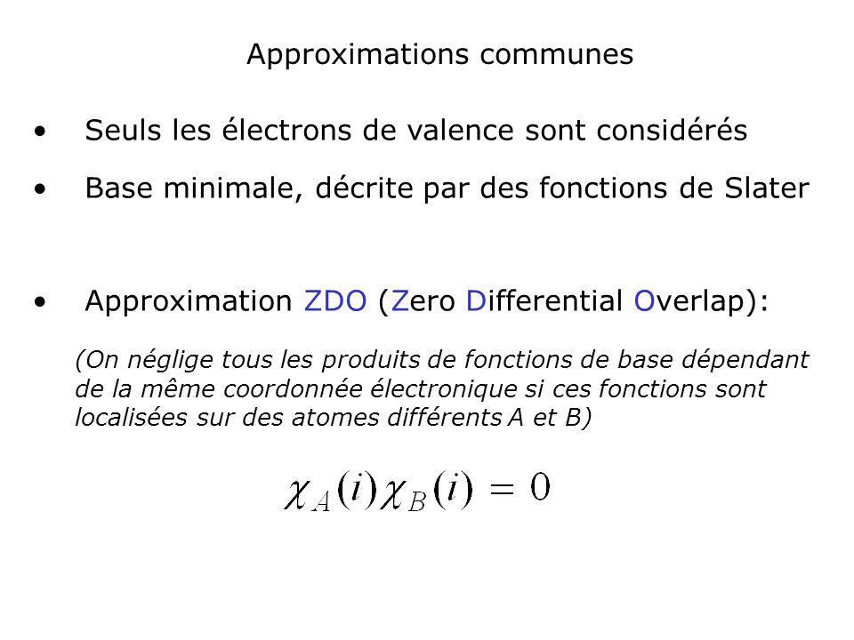 Du fait de cette approximation, certaines intégrales mono et bi électroniques, en particulier les intégrales biélectroniques à 3 et 4 centres sont nulles Nécessité dintroduire des paramètres pour «compenser» ces approximations et obtenir des résultats «raisonables» Les acronymes correspondent à des méthodes différant par la façon dont la paramétrisation est effectuée