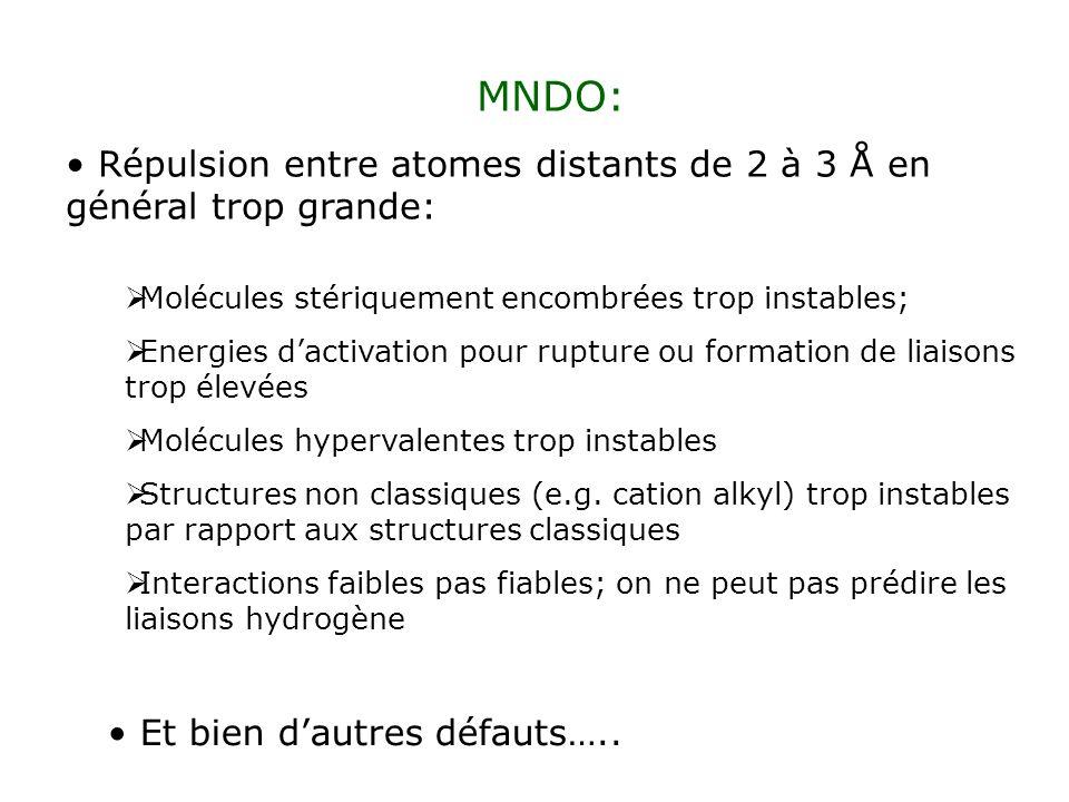 MNDO: Répulsion entre atomes distants de 2 à 3 Å en général trop grande: Molécules stériquement encombrées trop instables; Energies dactivation pour r