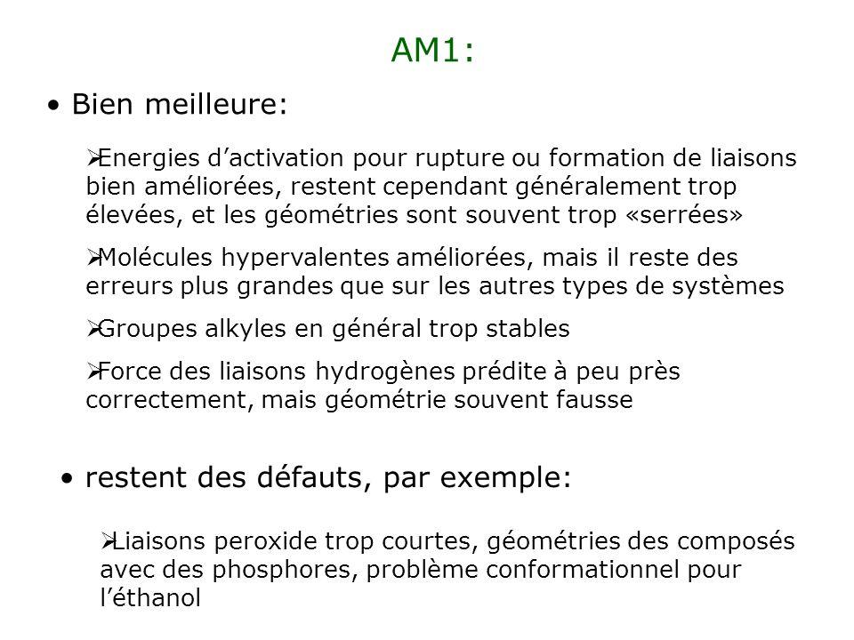 PM3: Sappuie sur un très grand nombre de données expérimentales Donne en général de meilleures énergies et de meilleures géométries, mais restent des problèmes danalyse conformationnelle (e.