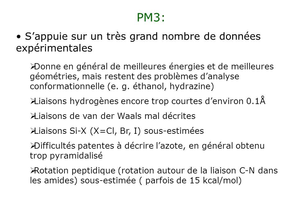 PM3: Sappuie sur un très grand nombre de données expérimentales Donne en général de meilleures énergies et de meilleures géométries, mais restent des