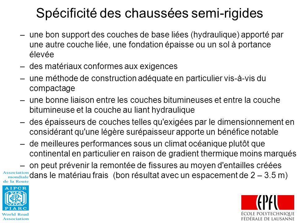 Spécificité des chaussées semi-rigides –une bon support des couches de base liées (hydraulique) apporté par une autre couche liée, une fondation épais