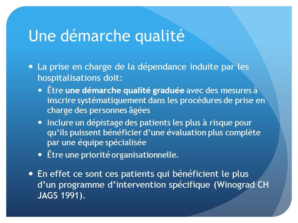 Une démarche qualité La prise en charge de la dépendance induite par les hospitalisations doit: Être une démarche qualité graduée avec des mesures à i