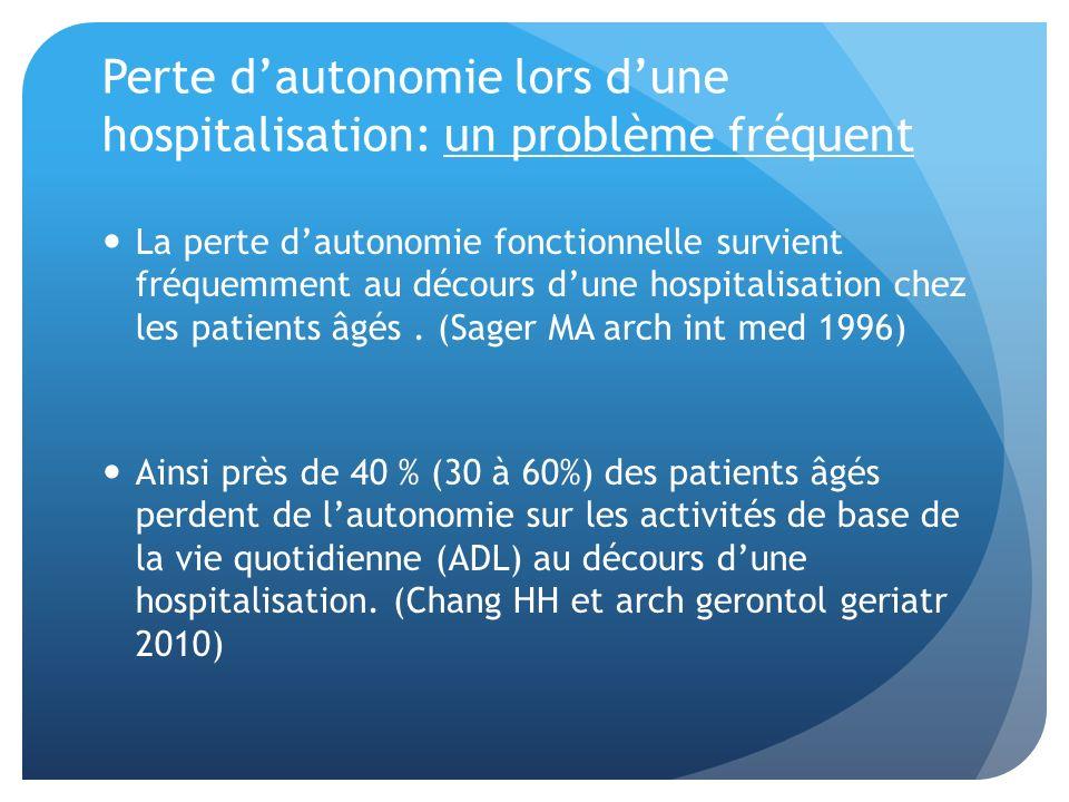 Perte dautonomie lors dune hospitalisation: un problème fréquent La perte dautonomie fonctionnelle survient fréquemment au décours dune hospitalisatio