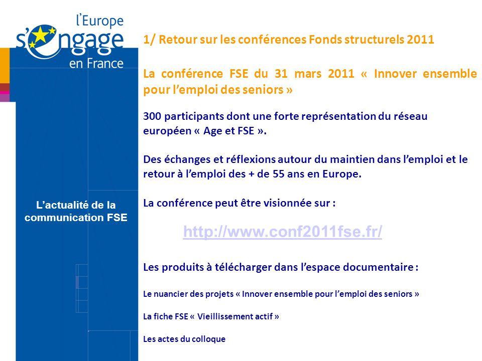 Le séminaire Compétitivité régionale et Emploi 2011 – Nantes, 8, 9 et 10 juin 2011 Plus de 450 représentants des autorités de gestion et de leurs partenaires régionaux comme nationaux.