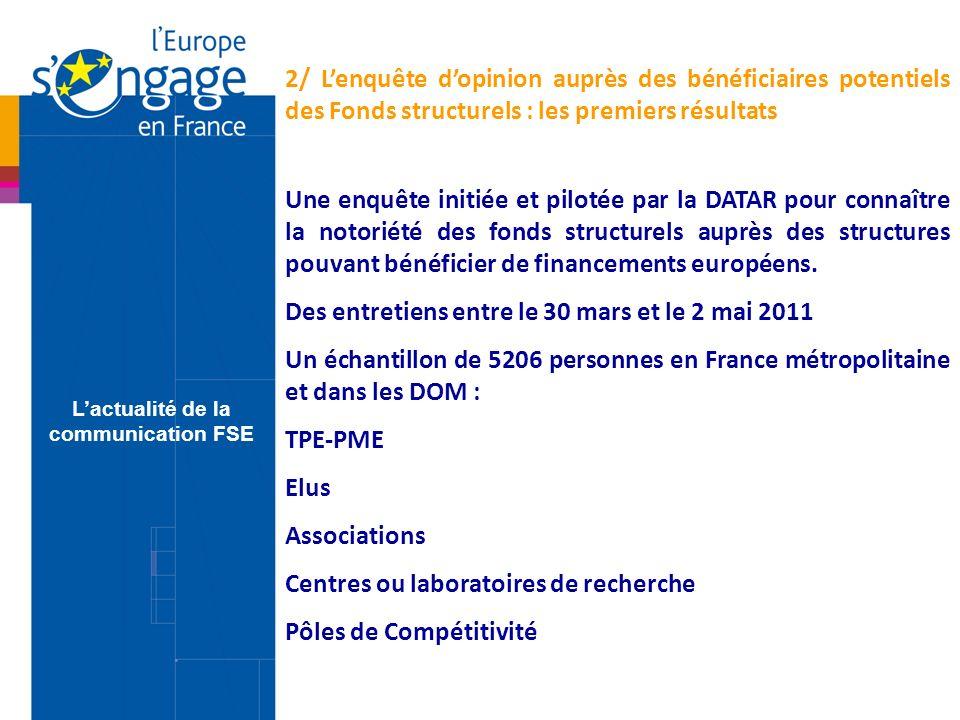 Une enquête initiée et pilotée par la DATAR pour connaître la notoriété des fonds structurels auprès des structures pouvant bénéficier de financements européens.