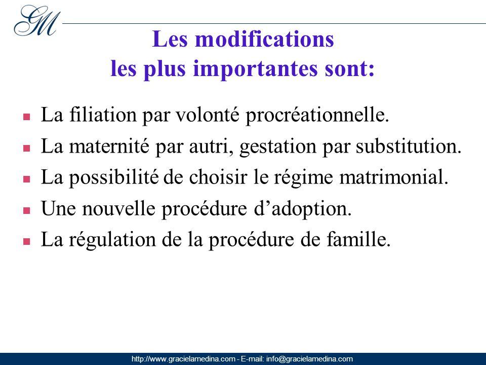 http://www.gracielamedina.com - E-mail: info@gracielamedina.com Les modifications les plus importantes sont: La filiation par volonté procréationnelle.