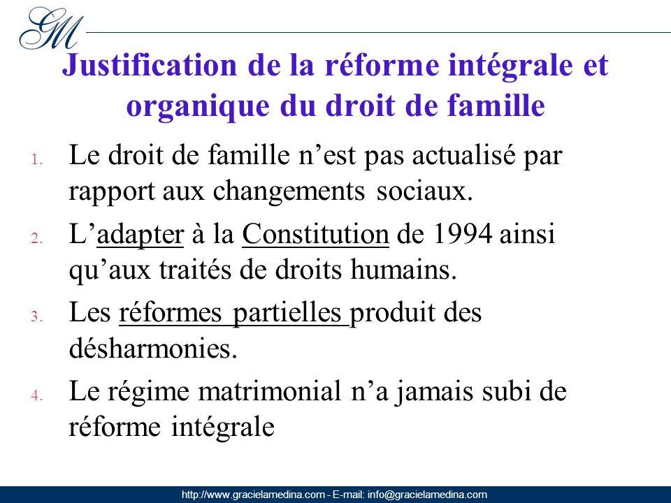 http://www.gracielamedina.com - E-mail: info@gracielamedina.com Justification de la réforme intégrale et organique du droit de famille 1.