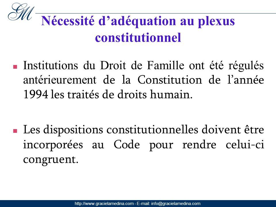 http://www.gracielamedina.com - E-mail: info@gracielamedina.com Nécessité dadéquation au plexus constitutionnel Institutions du Droit de Famille ont été régulés antérieurement de la Constitution de lannée 1994 les traités de droits humain.