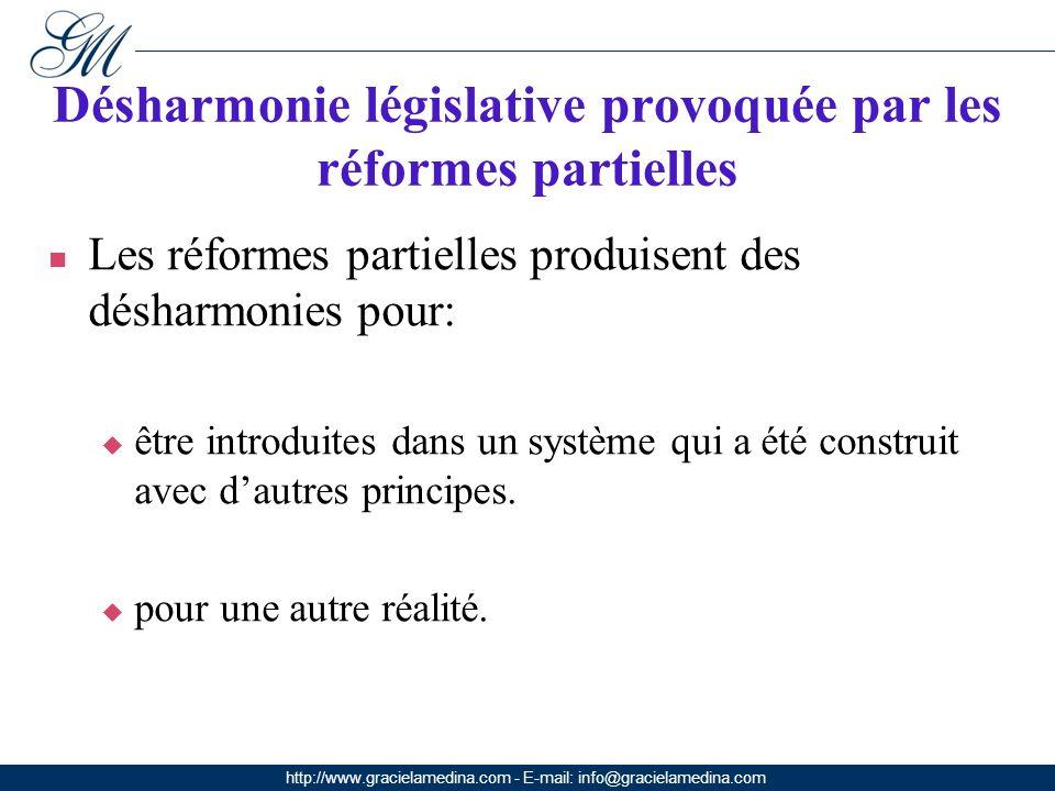 http://www.gracielamedina.com - E-mail: info@gracielamedina.com Désharmonie législative provoquée par les réformes partielles Les réformes partielles produisent des désharmonies pour: être introduites dans un système qui a été construit avec dautres principes.