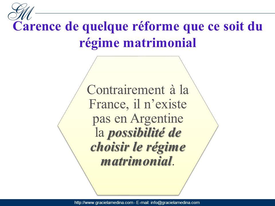http://www.gracielamedina.com - E-mail: info@gracielamedina.com Carence de quelque réforme que ce soit du régime matrimonial possibilité de choisir le régime matrimonial Contrairement à la France, il nexiste pas en Argentine la possibilité de choisir le régime matrimonial.
