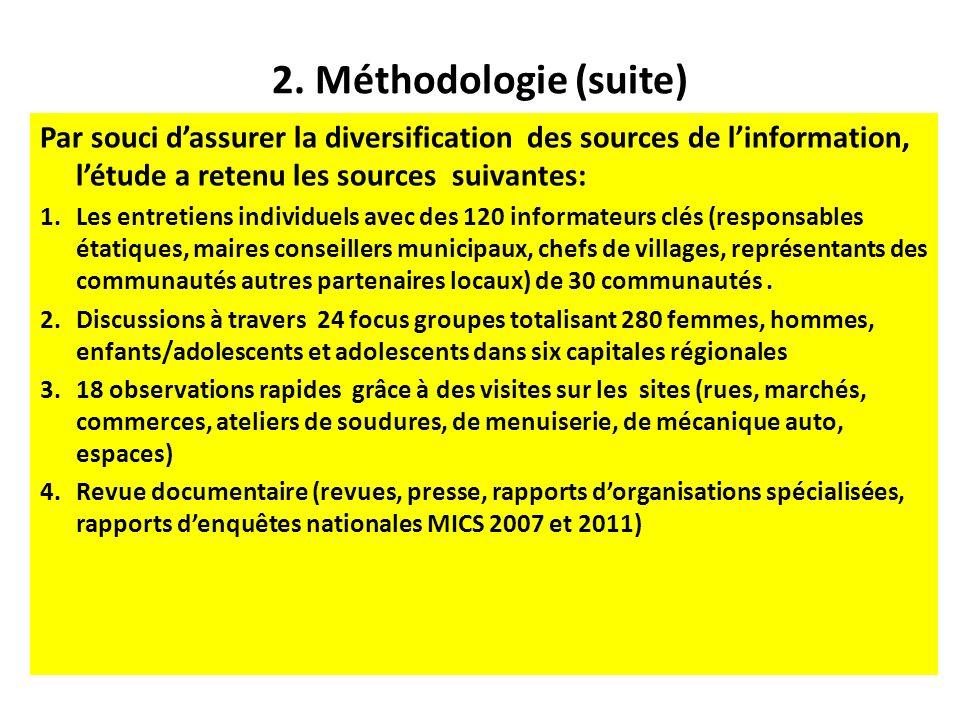 2. Méthodologie (suite) Par souci dassurer la diversification des sources de linformation, létude a retenu les sources suivantes: 1.Les entretiens ind