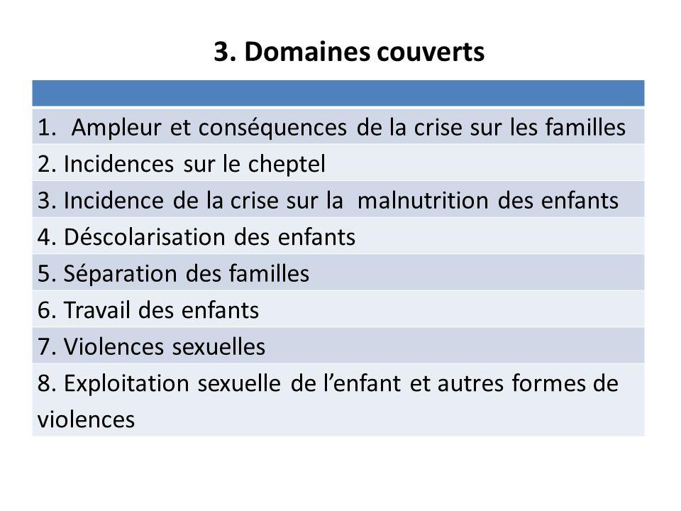 3. Domaines couverts 1.Ampleur et conséquences de la crise sur les familles 2.