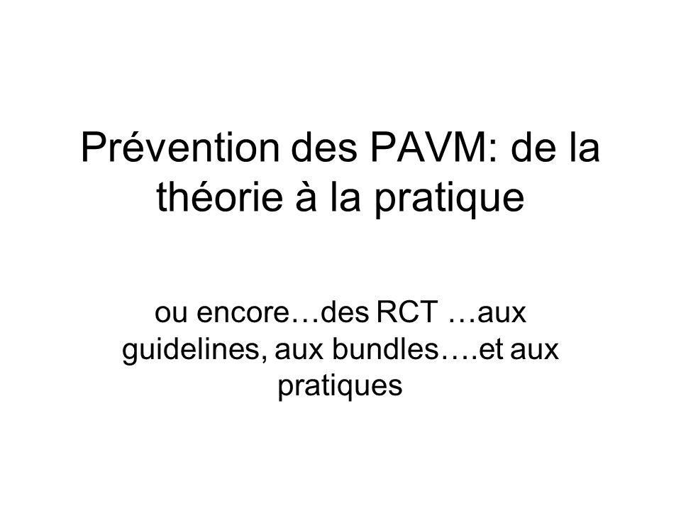 7 études préliminaires / 6 positives 1 méta-analyse en 2005 (n=876): réduction des PAVM précoces chez les patients ventilés plus de 72 h Dezfulian C Am J Med 2005