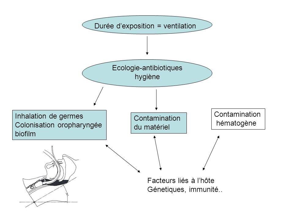 Durée dexposition = ventilation Ecologie-antibiotiques hygiène Inhalation de germes Colonisation oropharyngée biofilm Contamination du matériel Contamination hématogène Facteurs liés à lhôte Génetiques, immunité..