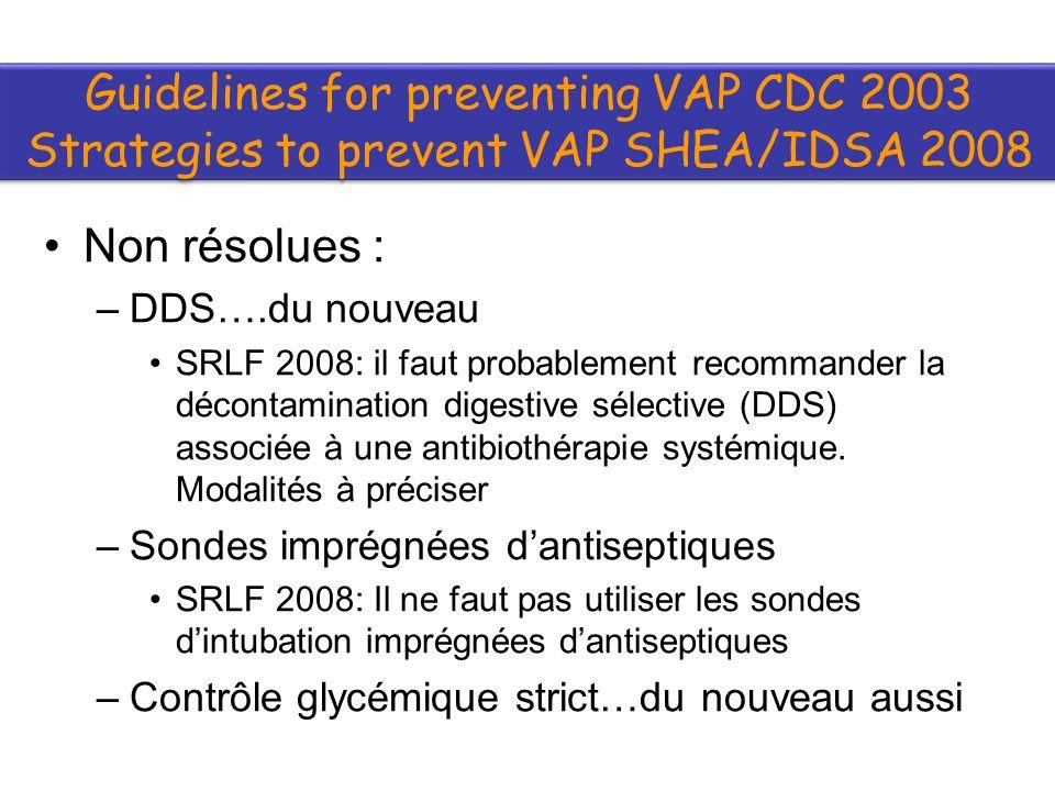 Non résolues : –DDS….du nouveau SRLF 2008: il faut probablement recommander la décontamination digestive sélective (DDS) associée à une antibiothérapie systémique.