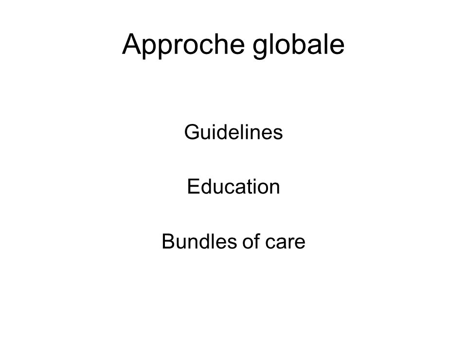 Approche globale Guidelines Education Bundles of care