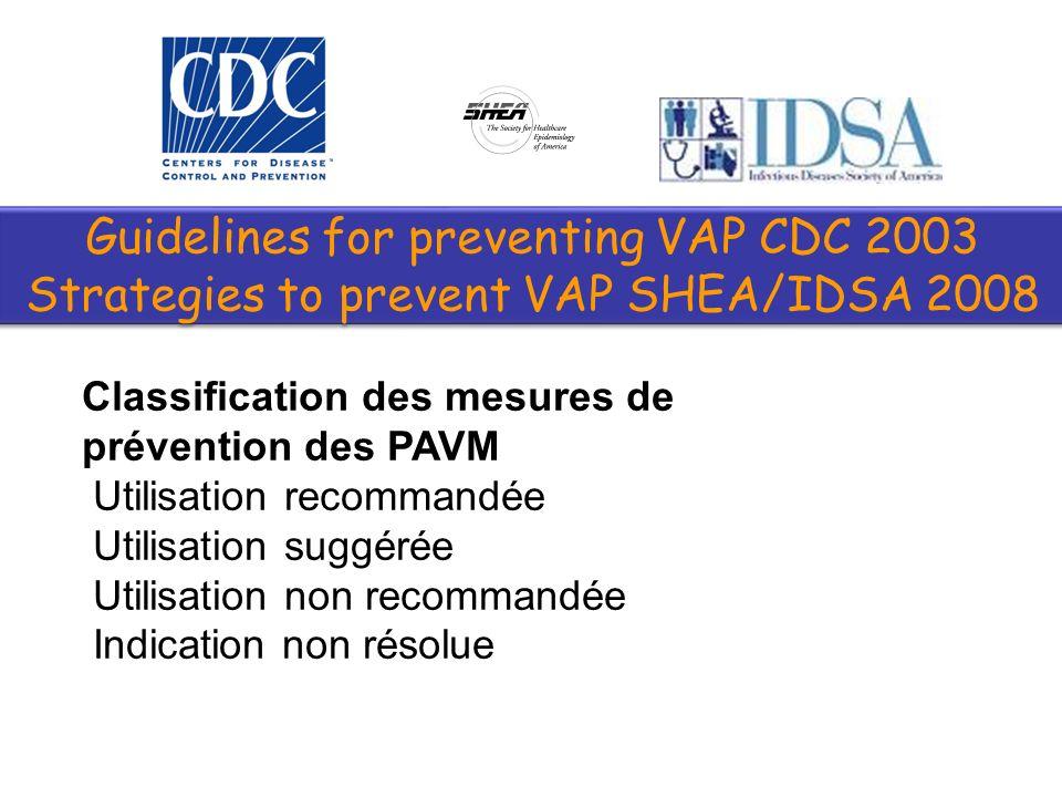 Ventilation: –Limiter la durée de VM –Utiliser la VNI quand cest possible (idem SRLF) –Sédation-sevrage: US: évaluer quotidiennement la capacité au sevrage et utiliser des protocoles SRLF 2008 : Il faut utiliser un algorithme de sédation analgésie Guidelines for preventing VAP CDC 2003 Strategies to prevent VAP SHEA/IDSA 2008 Guidelines for preventing VAP CDC 2003 Strategies to prevent VAP SHEA/IDSA 2008 Cook et al.