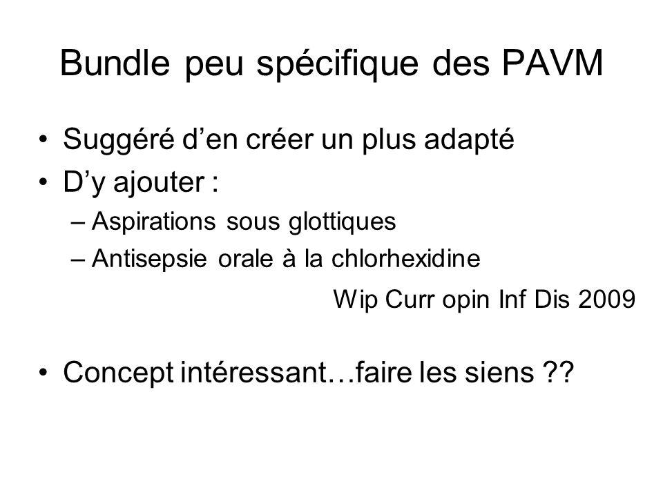 Bundle peu spécifique des PAVM Suggéré den créer un plus adapté Dy ajouter : –Aspirations sous glottiques –Antisepsie orale à la chlorhexidine Concept intéressant…faire les siens ?.