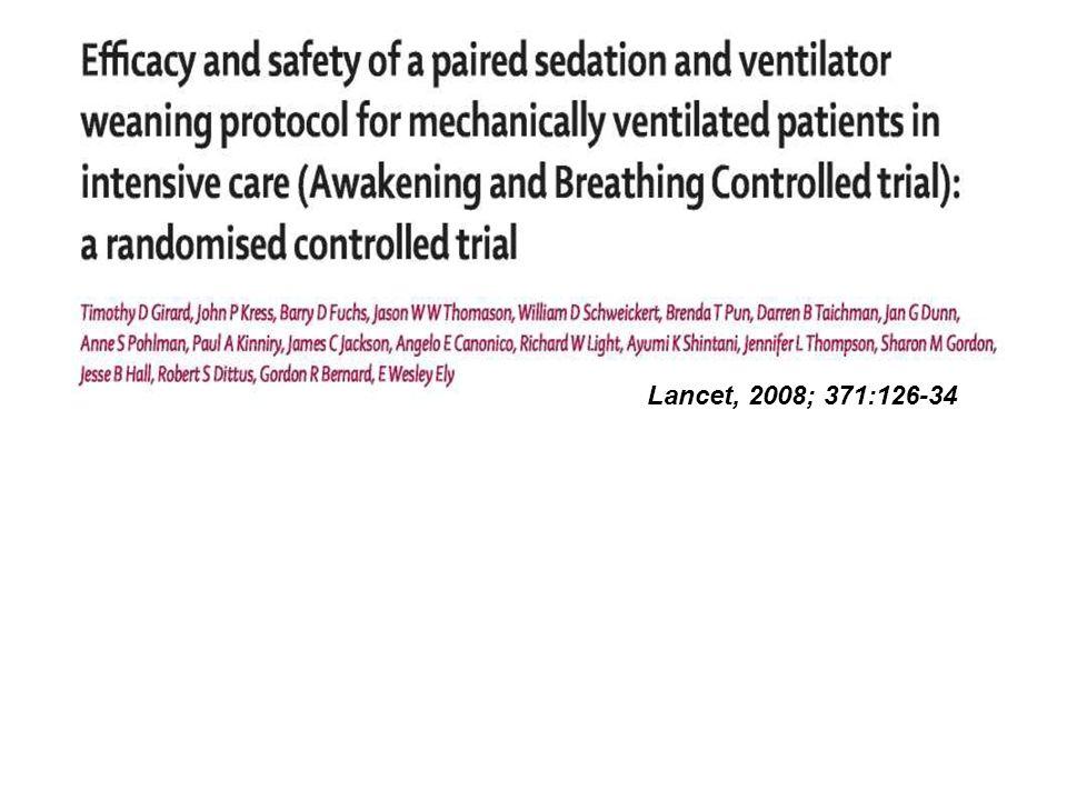 Groupe contrôle: screening quotidien: éligible à la ventilation spontanée.