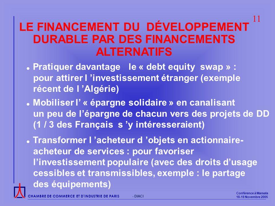 CHAMBRE DE COMMERCE ET DINDUSTRIE DE PARIS Conférence à Marsala 18-19 Novembre 2005 - DIACI LE FINANCEMENT DU DÉVELOPPEMENT DURABLE PAR DES FINANCEMENTS ALTERNATIFS Pratiquer davantage le « debt equity swap » : pour attirer l investissement étranger (exemple récent de l Algérie) Mobiliser l « épargne solidaire » en canalisant un peu de lépargne de chacun vers des projets de DD (1 / 3 des Français s y intéresseraient) 11 Transformer l acheteur d objets en actionnaire- acheteur de services : pour favoriser linvestissement populaire (avec des droits dusage cessibles et transmissibles, exemple : le partage des équipements)