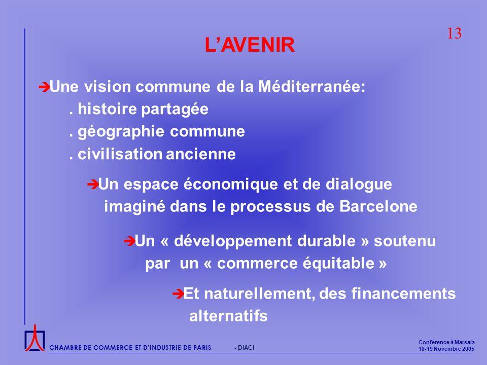 CHAMBRE DE COMMERCE ET DINDUSTRIE DE PARIS Conférence à Marsala 18-19 Novembre 2005 - DIACI LAVENIR Une vision commune de la Méditerranée:.