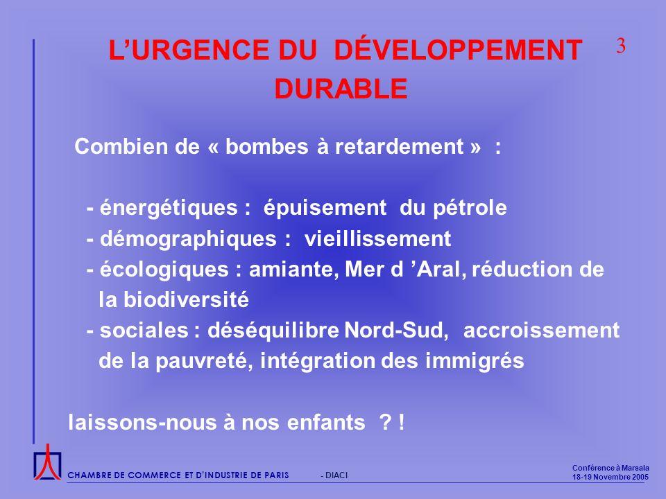 CHAMBRE DE COMMERCE ET DINDUSTRIE DE PARIS Conférence à Marsala 18-19 Novembre 2005 - DIACI LURGENCE DU DÉVELOPPEMENT DURABLE Combien de « bombes à retardement » : - énergétiques : épuisement du pétrole - démographiques : vieillissement - écologiques : amiante, Mer d Aral, réduction de la biodiversité - sociales : déséquilibre Nord-Sud, accroissement de la pauvreté, intégration des immigrés laissons-nous à nos enfants .