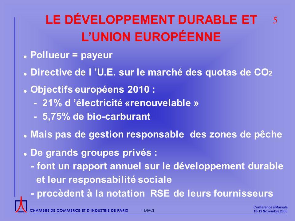CHAMBRE DE COMMERCE ET DINDUSTRIE DE PARIS Conférence à Marsala 18-19 Novembre 2005 - DIACI LE DÉVELOPPEMENT DURABLE ET LUNION EUROPÉENNE Pollueur = payeur Directive de l U.E.