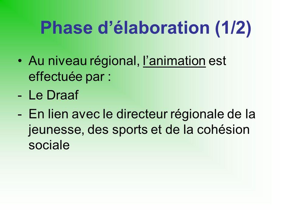 Phase délaboration (1/2) Au niveau régional, lanimation est effectuée par : -Le Draaf -En lien avec le directeur régionale de la jeunesse, des sports