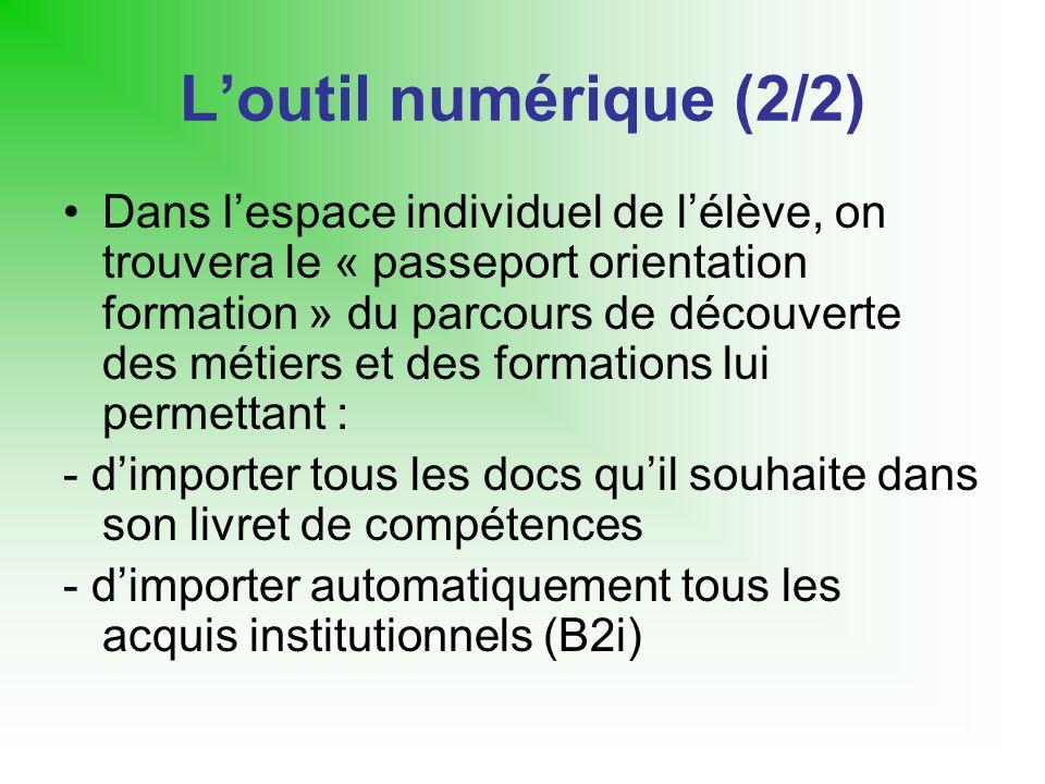 Loutil numérique (2/2) Dans lespace individuel de lélève, on trouvera le « passeport orientation formation » du parcours de découverte des métiers et
