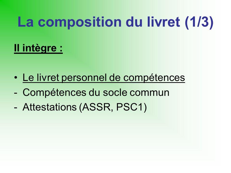 La composition du livret (1/3) Il intègre : Le livret personnel de compétences -Compétences du socle commun -Attestations (ASSR, PSC1)