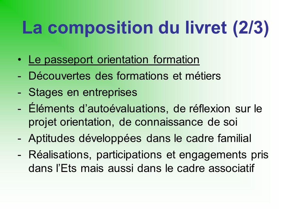 La composition du livret (2/3) Le passeport orientation formation -Découvertes des formations et métiers -Stages en entreprises -Éléments dautoévaluat