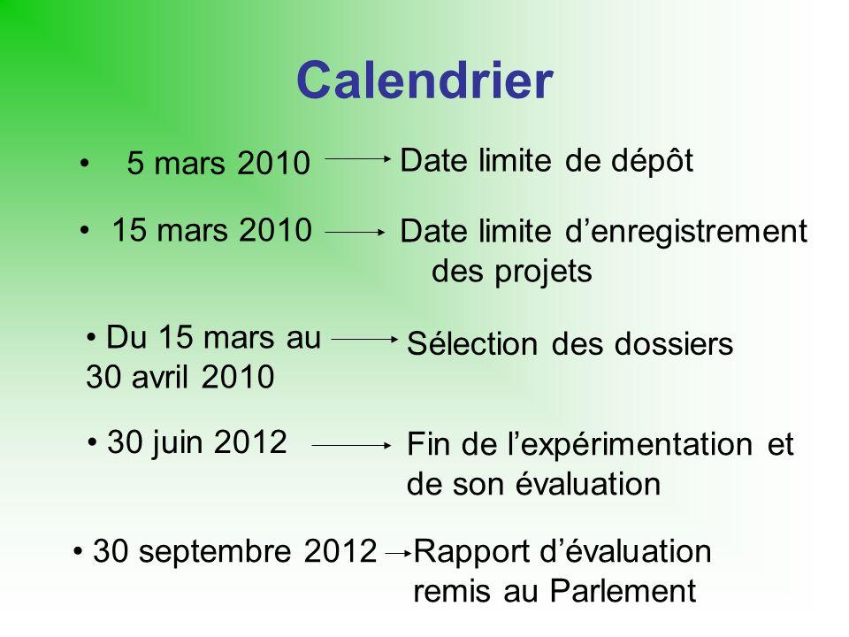 Calendrier 15 mars 2010 Date limite denregistrement des projets 5 mars 2010 Date limite de dépôt Du 15 mars au 30 avril 2010 Sélection des dossiers 30
