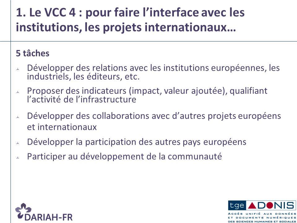 1. Le VCC 4 : pour faire linterface avec les institutions, les projets internationaux… 5 tâches Développer des relations avec les institutions europée