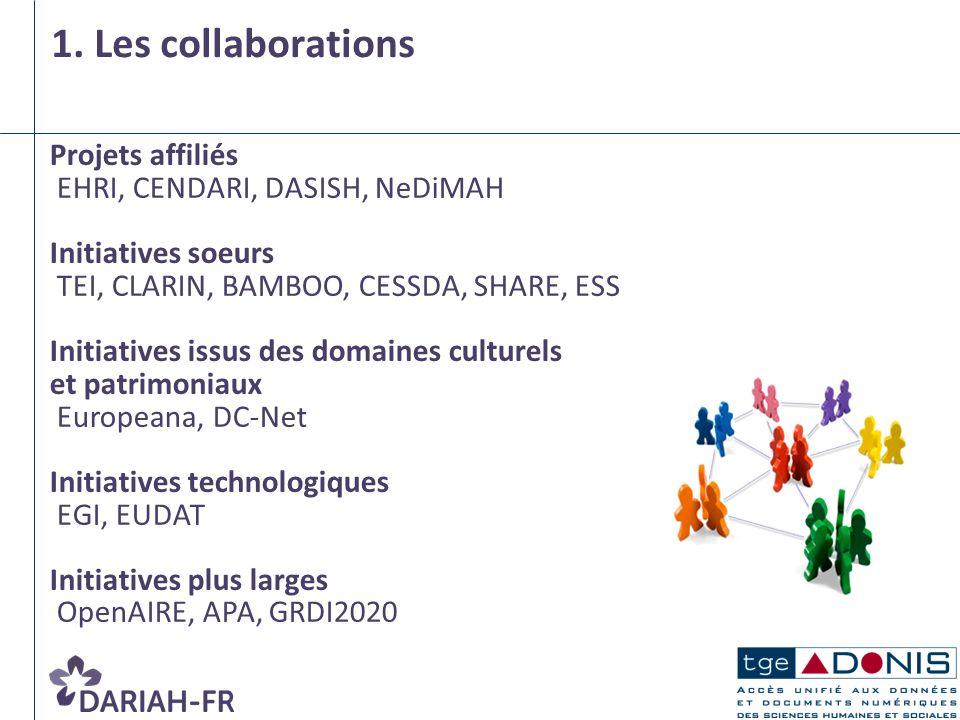 1. Les collaborations Projets affiliés EHRI, CENDARI, DASISH, NeDiMAH Initiatives soeurs TEI, CLARIN, BAMBOO, CESSDA, SHARE, ESS Initiatives issus des