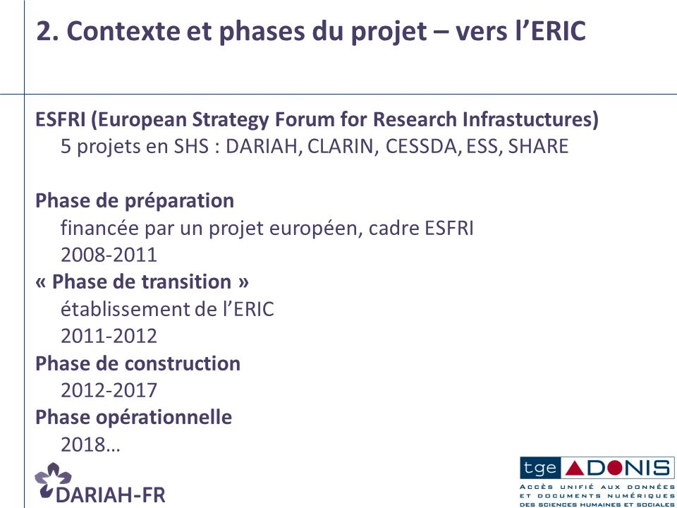 2. Contexte et phases du projet – vers lERIC ESFRI (European Strategy Forum for Research Infrastuctures) 5 projets en SHS : DARIAH, CLARIN, CESSDA, ES