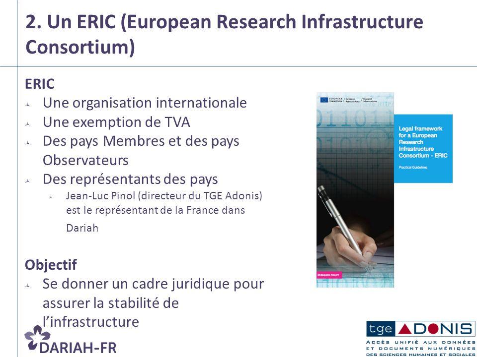 2. Un ERIC (European Research Infrastructure Consortium) ERIC Une organisation internationale Une exemption de TVA Des pays Membres et des pays Observ