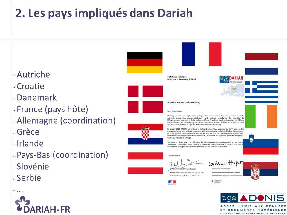 2. Les pays impliqués dans Dariah Autriche Croatie Danemark France (pays hôte) Allemagne (coordination) Grèce Irlande Pays-Bas (coordination) Slovénie