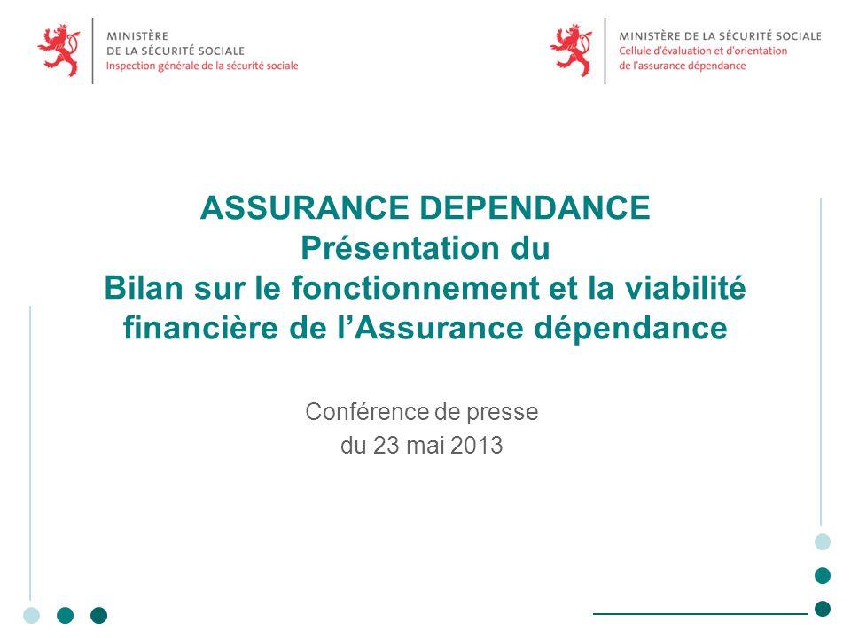 ASSURANCE DEPENDANCE Présentation du Bilan sur le fonctionnement et la viabilité financière de lAssurance dépendance Conférence de presse du 23 mai 2013