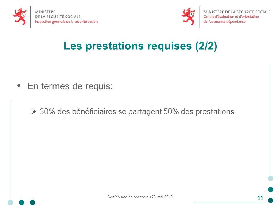 Les prestations requises (2/2) En termes de requis: 30% des bénéficiaires se partagent 50% des prestations Conférence de presse du 23 mai 2013 11
