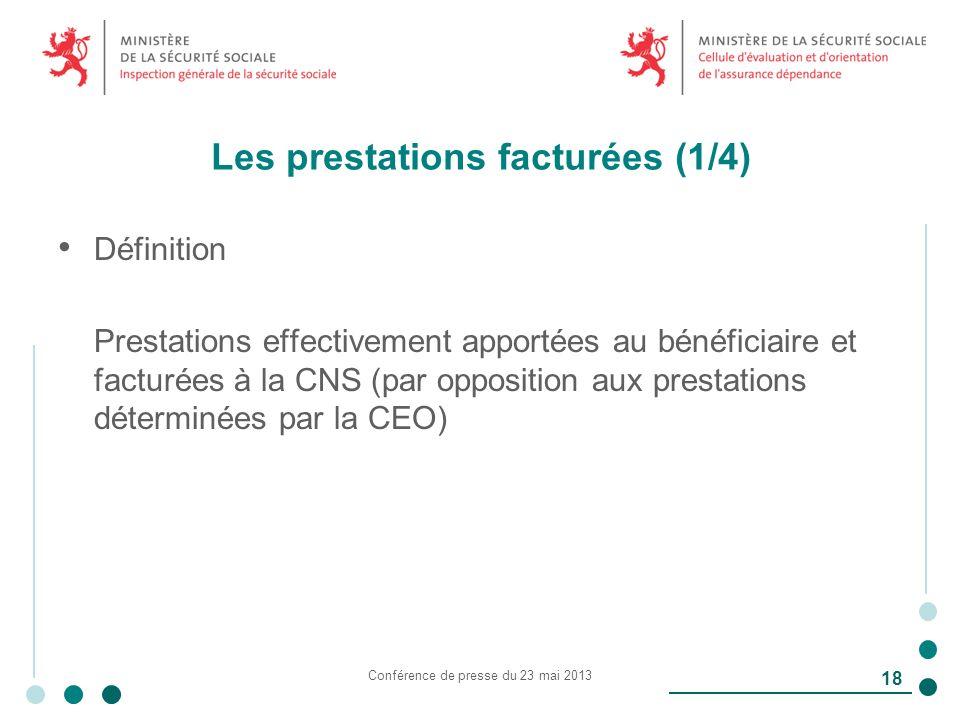 Les prestations facturées (1/4) Définition Prestations effectivement apportées au bénéficiaire et facturées à la CNS (par opposition aux prestations déterminées par la CEO) Conférence de presse du 23 mai 2013 18