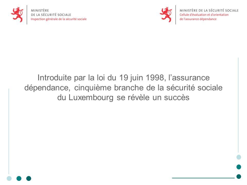 Introduite par la loi du 19 juin 1998, lassurance dépendance, cinquième branche de la sécurité sociale du Luxembourg se révèle un succès