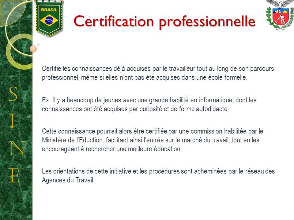 Certification professionnelle Certifie les connaissances déjà acquises par le travailleur tout au long de son parcours professionnel, même si elles nont pas été acquises dans une école formelle.