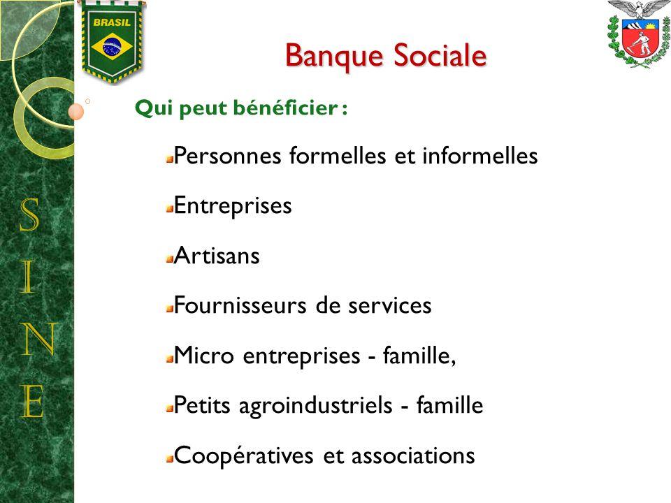 Banque Sociale Qui peut bénéficier : Personnes formelles et informelles Entreprises Artisans Fournisseurs de services Micro entreprises - famille, Petits agroindustriels - famille Coopératives et associations