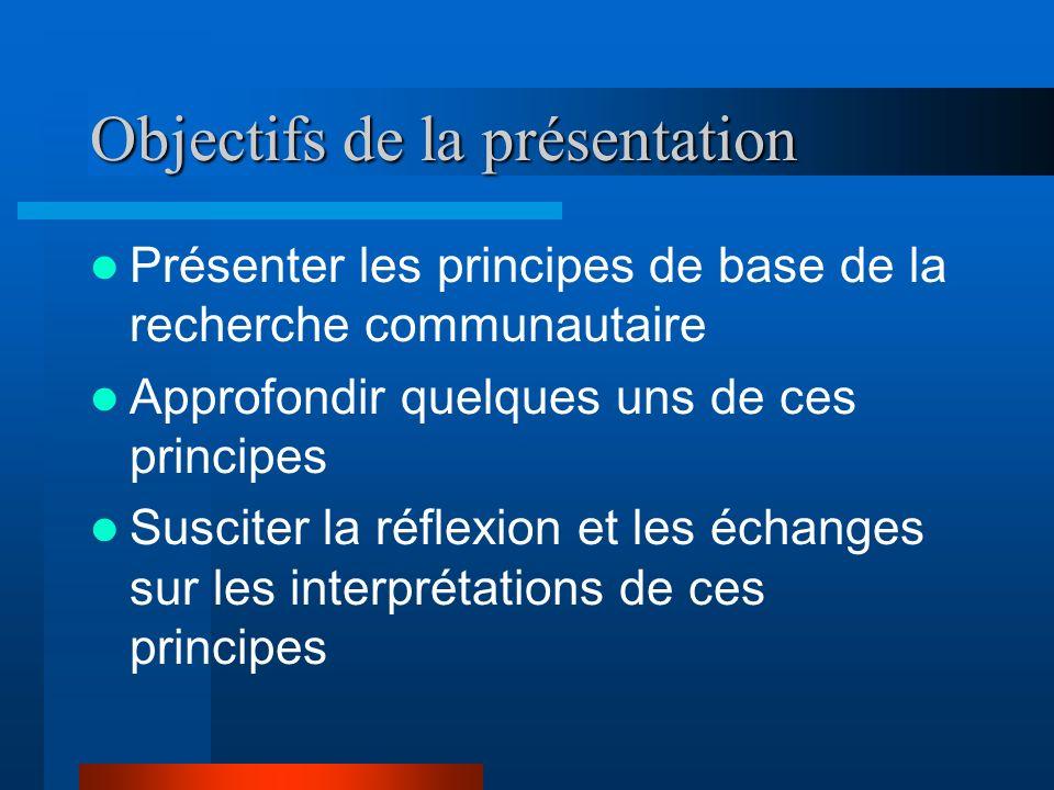 Objectifs de la présentation Présenter les principes de base de la recherche communautaire Approfondir quelques uns de ces principes Susciter la réflexion et les échanges sur les interprétations de ces principes